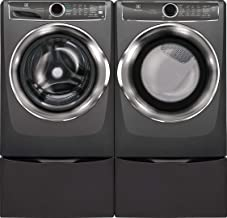 Electrolux Titanium Front Load Laundry Pair with EFLS627UTT 27 Washer, EFMG627UTT 27 Gas Dryer and Two EPWD257UTT Pedestal