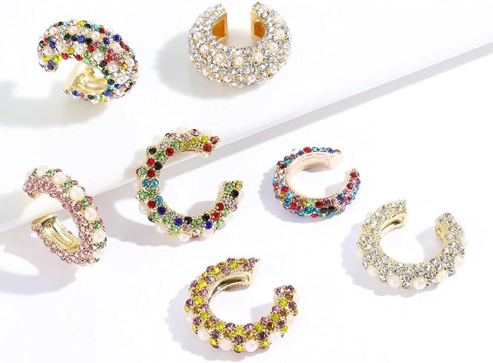 1Pc C-Shaped Cubic Zirconia Ear Cuff Copper Crystal Rhinestone Dangle Gold No Pierced Ear Stud Women Fashion Beauty Jewelry Gift