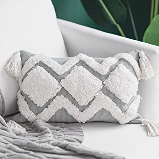 blue page Lumbar Small Decorative Throw Pillow Covers for Couch Sofa Bedroom Living Room, Woven Tufted Boho Cushion Cover, Cute Rectangle Pillow Cases with Tassels (12X20 inch, White Grey)