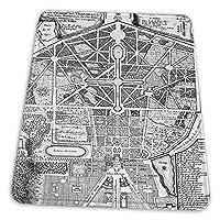 ゲーミングマウスパッド - 地図アンティークパレスプランデフェルベルサイユパークガーデン マウスパッド おしゃれ ゲームおよびオフィス用/防水/洗える/滑り止め/ファッショナブルで丈夫 25x30cm
