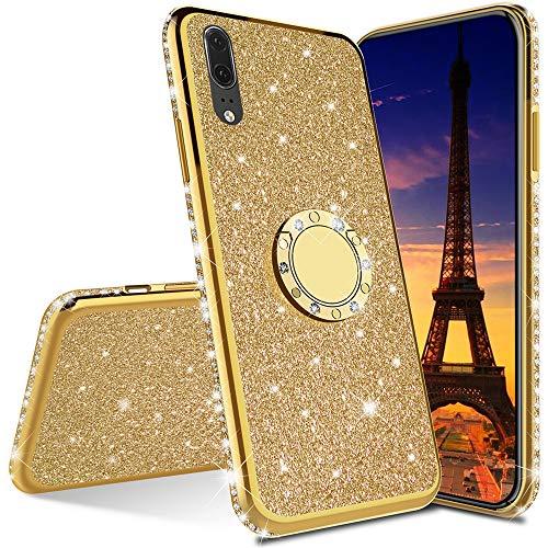 Asdsinfor Xiaomi Mi 10 Lite Funda de lujo con brillo de lujo con diamante silicona TPU suave cubierta con soporte anillo soporte ultra fino protección para Xiaomi Mi 10 Lite chapado TPU oro KDL