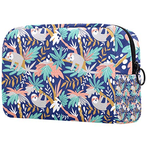 Girl Cosmetic Bags Women Makeup Bag Toiletry Organizer Pouch with Zipper 7.3x3x5.1 Inch Sloth On Coco Tree
