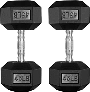 PAPABABE Dumbbells Free Weights Dumbbells Man Women Home Weight Set Rubber Coated cast Iron Hex Black Dumbbell