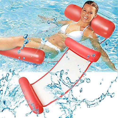 Cama flotante, Hamaca de agua, hinchable, tumbona de salón cómoda portátil, flotador para piscina, playa, para adultos y niños (naranja)