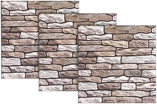 infactory Fliesenfolie Steinoptik: Selbstklebende 3D-Steinwandoptik-Fliesenaufkleber, 30 x 30 cm, 3er-Set (Fliesenaufkleber Steinoptik)