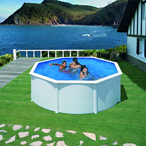 Gre KIT350ECO Fidji - Piscina Elevada Redonda, Aspecto Acero Blanco, 350 x 120 cm