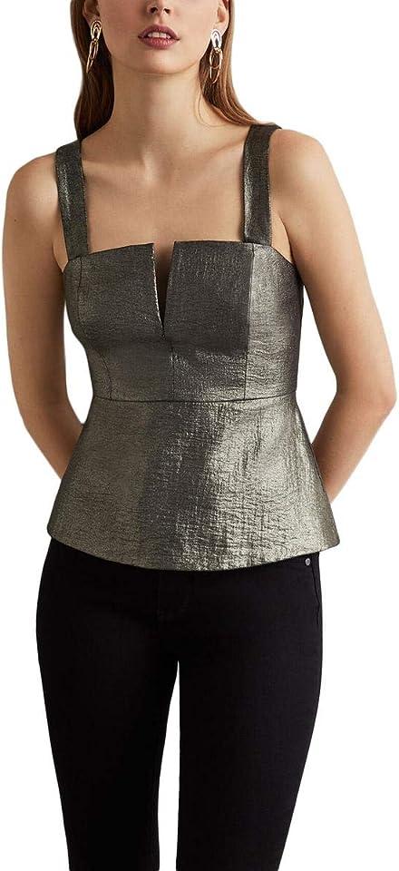 BCBGMAXAZRIA Womens Metallic Sleeveless Peplum Top