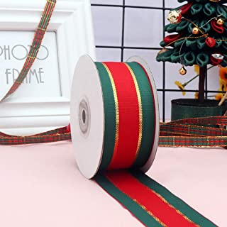 Christmas Plaid Checkered Ribbon 25 Yard Each Roll 100% Polyester Woven Edge Gingham RibbonFor Christmas Crafts, Gift Wrap...