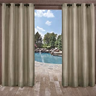 Exclusive Home Curtains Biscayne Indoor/Outdoor Two Tone Textured Window Curtain Panel Pair with Grommet Top, 54x108, Natural, 2 Piece