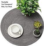 SHACOS Baumwolle Platzsets Set von 6,Tischsets Rund Abwaschbar Verschleißfest Hitzebeständig,geflochtene Platzdeckchen,Ideal für Küche,Dekor,- Dunkelgrau - 4