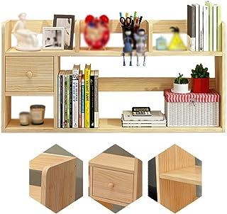 Desktop Bookshelf, Solid Wood Desk Shelf, Office Storage Desk Organizer, Multipurpose Rack For Office Supplies, Home, Bath...