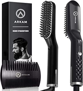 Arkam Premium Beard Straightener for Men - Cutting Edge Ionic Beard Straightening Comb for Home & Travel, Volumizing Hair Straightener for Men & Women, Dual Voltage Revolutionary Beard Comb 110-240V