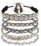 Bandas para la Cabeza Elásticas, Zoylink 5 Piezas aro Diadema Cristal Diamante de Imitación Bandas para el Pelo Accesorios para el Cabello de la Boda para Mujer (Multicolor 1)