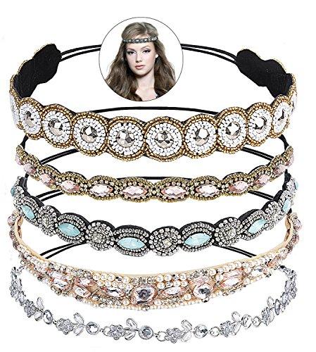 Haarschmuck,Zoylink 5 Stück Elastisches Haarband Haarreife Kristall Strass Kopfkette für Frauen Damen