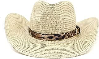 SXQ Summer Men's Women's Straw Hat Casual Denim Sunproof Western Cowboy Hat Fedora Hat Outdoor Travelling Beach Sun Hat With Leopard Painting Decoration Gentlemen's Hat UV Protective Visor Cowgirl Hat