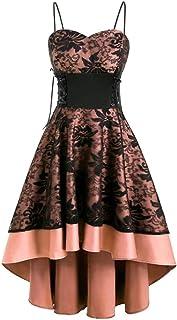 SHINEHUA Damen 1950er Vintage Gothic Kleid Retro Cocktailkleider Ärmellos Abendkleid Steampunk Petticoat Faltenrock Festli...