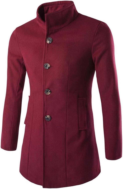 ManxiVoo Men's Winter Coat Fashion Business Trench Coat Warm Thicken Jacket Peacoat Long Overcoat (M, Wine)