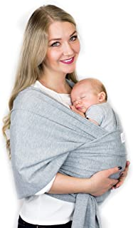 Cutie Carry-Baby Carrier Wrap-Perfect Stretch-Cotton Sling-Secure-Hold New Born Infants-Nursing Cover-Hands Free-Baby Wearing-One Size Fits All-Available in 4 Colors-Great For New Mom-Shower Gift-Grey