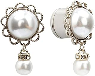 IPINK Stainless Steel Pearl Pendant Ear Piercing Tunnel and Plugs Ear Expender Gauges