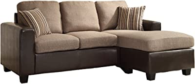 Homelegance Slater Two Tone Reversible Chaise Sofa Brown Furniture Decor