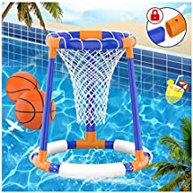 FOSUBOO Pool Toys, Pool Basketball Hoop Set for Kids, Floating Water Basketball Game for Swimming Pool, Inflatable Basketball Pool Game for Kids Adults, 2 Balls with a Net and Pump Included