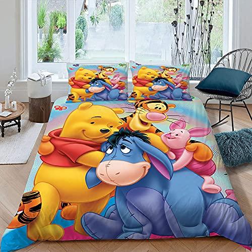 Juego de cama de dibujos animados 3D para niños, tamaño individual, funda de edredón Winnie The Pooh, 3 piezas, 1 funda de edredón con 2 fundas de almohada