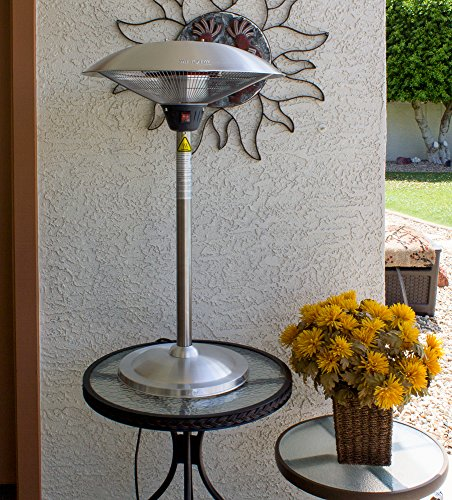 Hiland HIL-1821 Tabletop Indoor/Outdoor Electric Patio Heater, 1500 Watts, Small, Stainless Steel