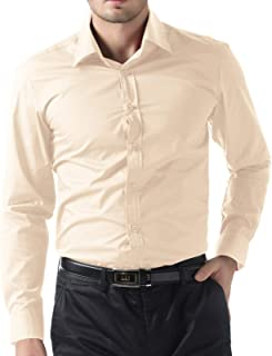 AngelSpace Mens Thobe Islamic Solid-Colored Muslim Short Sleve Western Shirt