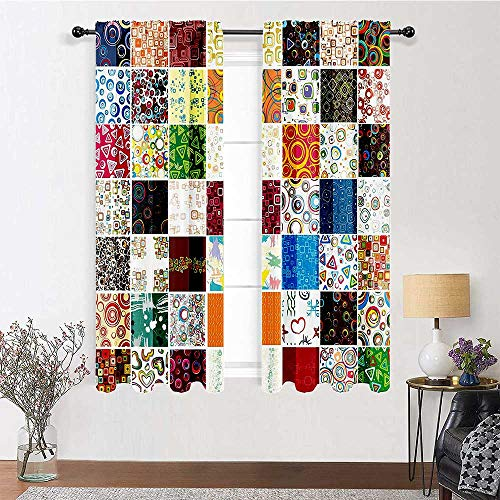Kitchen Curtains 96 inch Length, House Decor Curtain Panels 72' x 96' - Big Patchwork of Different Patterns Traditional Classical Festive Image, Blue Green Pink White