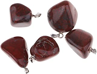 HOMYL Natural Mineral Pendants Necklace Natural Quartz Polished Stone for Jewelry - Red