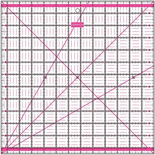 SEMPLIX Patchwork-Lineal Quilt-Lineal, transparent, mit inch Skala und Winkelfunktionen, ideal für Patchwork und zum Basteln, 12,5 x 12,5 inch (pink)