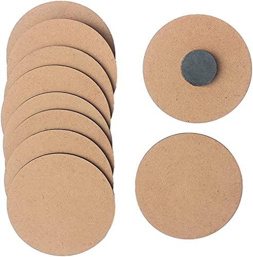 IVEI DIY MDF Wood Sheet Round Craft Magnet - Plain MDF Fridge Magnet Blanks Cutouts - Set of 10 with 3mm - 3in Diamet...