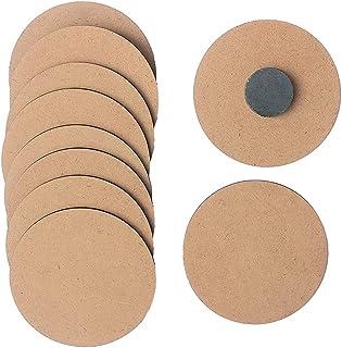 IVEI DIY MDF Wood Sheet Round Craft Magnet - Plain MDF Fridge Magnet Blanks Cutouts - Set of 10 with 3mm - 3in Diameter fo...