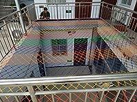 2×2メートルロープネット壁掛け装飾ネット用子供おもちゃペットセーフ屋内手すり幼稚園色装飾ネット家庭用ポータブルネット (Color : Red)
