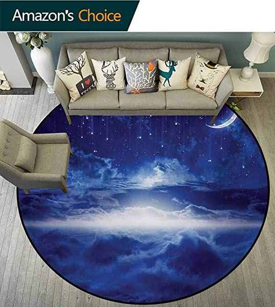 RUGSMAT 梦幻现代可拆洗圆形防滑垫夜空月亮流星云天涯神秘空间艺术防滑浴室软底垫家居装饰直径 47 英寸海军蓝色和白色