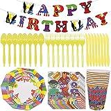 Kit Decorazioni Supereroi,CYSJ Stoviglie per Feste di Compleanno, 48 pezzi Forniture per Feste Set da Tavola, Piatti Tazze Tovaglioli Posate Banner Tovaglia Kit Compleanno Decorazioni