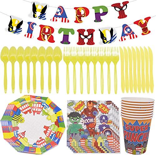 CYSJ 48 piezas vajilla para fiesta de cumpleaños, decoración de mesa de cumpleaños para niños, platos, tazas, servilletas, pancartas, juego de decoración para fiesta de cumpleaños