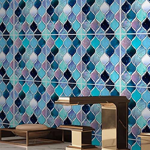 ENCOFT 24 Piezas Pegatinas de Azulejos, Autoadhesivo Azulejo Transferencias Pegatinas DIY, Azulejos Adhesivos PVC Impermeable, Pegatinas de Baldosas para Cocina Baño, Linterna Multicolor 15x15cm