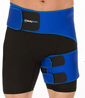 BODYMATE Compression Brace for Hip, Sciatica Nerve Pain Relief Thigh Hamstring, Quadriceps, Joints, Arthritis, Groin Wrap for Pulled Muscles, Hip Strap, Sciatica Brace/SI Belt