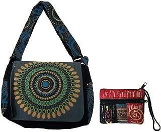 Canvas Cotton Sling Boho Cross Body Shoulder Bag & Coin/Money Purse Bundle Nepal – Circle Geometric Design