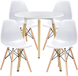 ME2 Kitchen Dining Table Set,Modern Round Dining Table Coffee Table Office Desk with White Tabletop & Wooden Legs,Round Table 80cm & 4pcs Dining Chairs for Dining,Kitchen Living Room(White)
