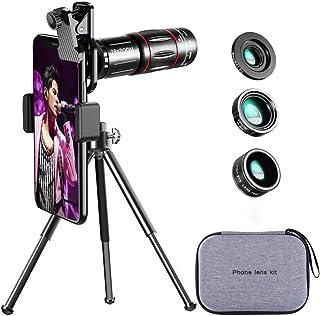 Ancocs 【2020最新型】 4in1 スマホレンズキット 高画質 HD28倍望遠レンズ 0.6倍広角レンズ 20倍マイクロレンズ 200°魚眼レンズ ミニ三脚 収納バック付き スマホ用カメラレンズ iphone XR 11 X XSmax...