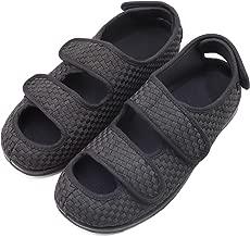 Men's Extra Wide Width Adjustable Slippers, Diabetic & Edema Slippers Swollen Feet Walking Shoes Indoor/Outdoor Orthopedic Sandals