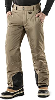 TSLA Men's Rip-Stop Snow Pants Windproof Ski Insulated Water-Repel Bottoms