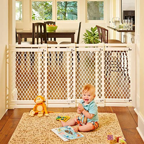 North States 62' Wide Extra-Wide Baby Gate: Smoothly Opens and Closes in Extra-Wide Spaces. Hardware Mount. Fits 22'-62' Wide (31' Tall, Ivory)