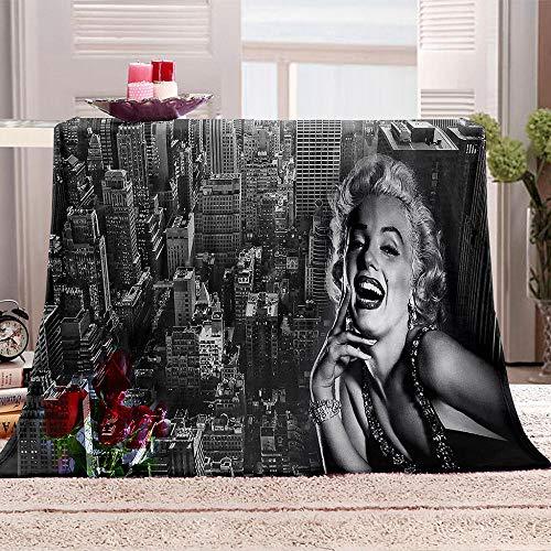 Coperta in Pile New York City e Monroe Coperta di Pile Sherpa Extra Morbida e Calda Plaid 3D Coperta Stampata Decorativa per Divano e Letto 180x200cm