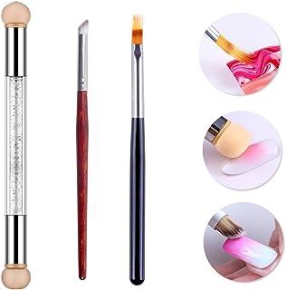 WOKOTO 3Pcs Nail Gradient Sponges Brush Pens Kit With Double Head Nail Sponge Pen Nail Gradient Brushes 3 Different Ombre ...