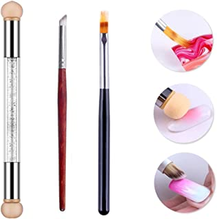 WOKOTO 3Pcs Nail Gradient Sponges Brush Pens Kit With Double Head Nail Sponge Pen Nail Gradient Brushes 3 Different Ombre Brushes For Gel Nails