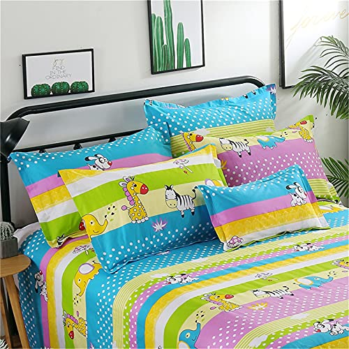 ALRZ Pure cotton bedding sheets + 2.0 meters bed duvet cover 240x220 + 2 pillowcases (4 piece set) animal party