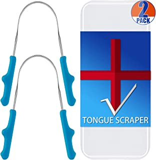 CATACC Pro Tongue Scraper, 2 Pack Professional Stainless Steel Tongue Scrapers Cleaner with 2 Carrying Box for Family, Kids, Travel, Home, Office
